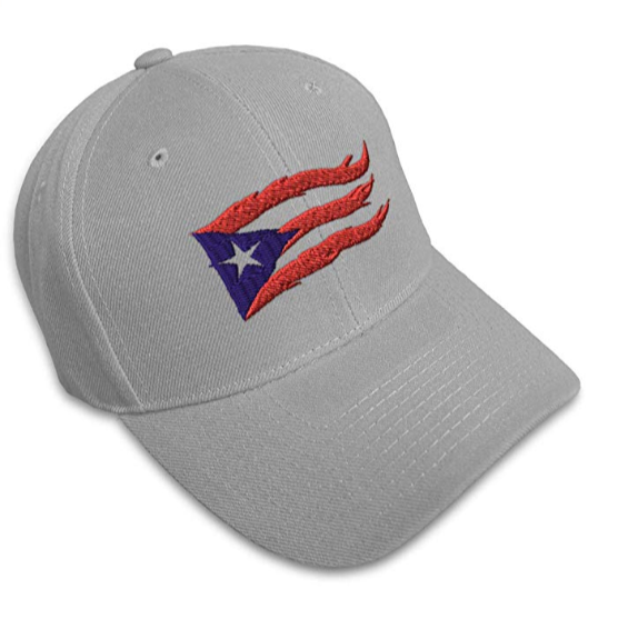Custom Baseball Cap Puerto Rico Flame Flag on